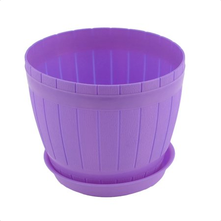Home Office Desk Decor Plastic Casks Shape Plant Flower Pot Holder Purple w - Flower Shape
