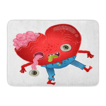 GODPOK Red Brain Blue Dead Zombie Heart Love Green Monster Cartoon Rug  Doormat Bath Mat 23 6x15 7 inch