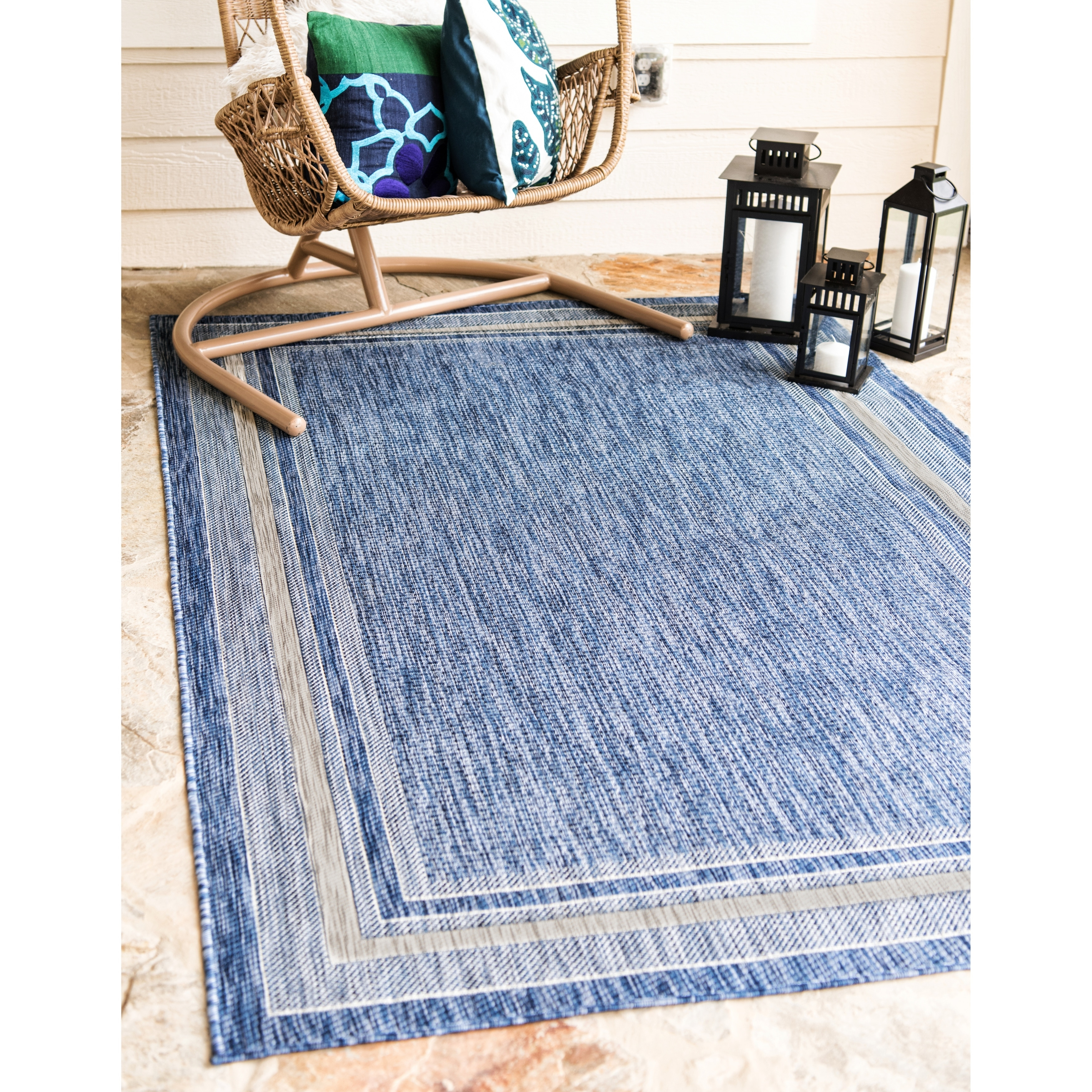Unique Loom Outdoor Soft Border Rug
