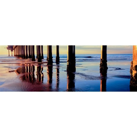 Pier On Beach At Sunset La Jolla San Diego California Usa Poster Print