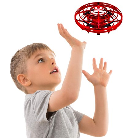 Control Line Flying - Sky Stone Hand Operated Drones for Kids and Adults- Controlled Flying Ball, Interactive Ball with 360° Rotating and Shinning LED Lights, Flying Toy- Indoor – Outdoor – Red Color