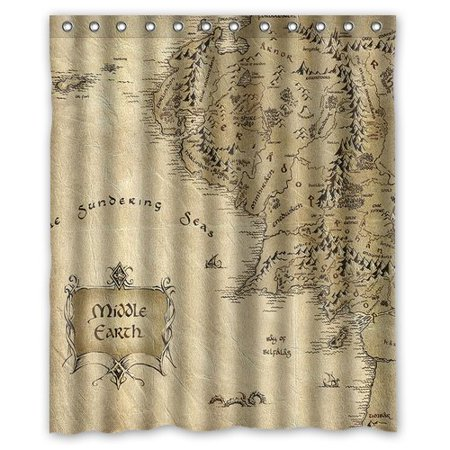 GreenDecor Best Middle Earth Waterproof Shower Curtain Set with Hooks Bathroom Accessories Size 60x72
