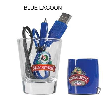 Margaritaville Audio MVASSMS1BL Bluetooth Sound Shot - Blue Lagoon - PLUS Shot Glass - Sound Reactive Glasses