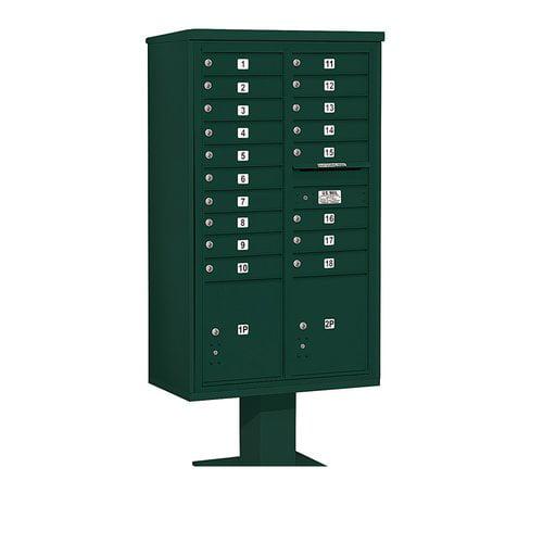 Salsbury Industries 4C Pedestal Mailbox 15 Door High Unit Double Column 18 Doors and 2 Parcel Lockers