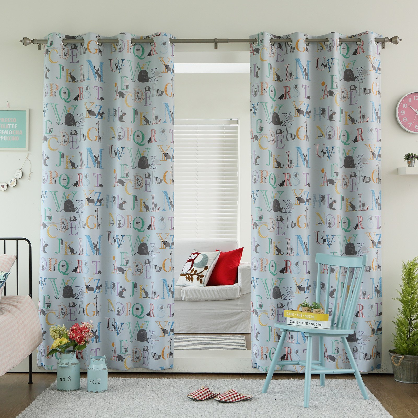 Best Home Fashion Alphabet Blackout Grommet Curtain Panel