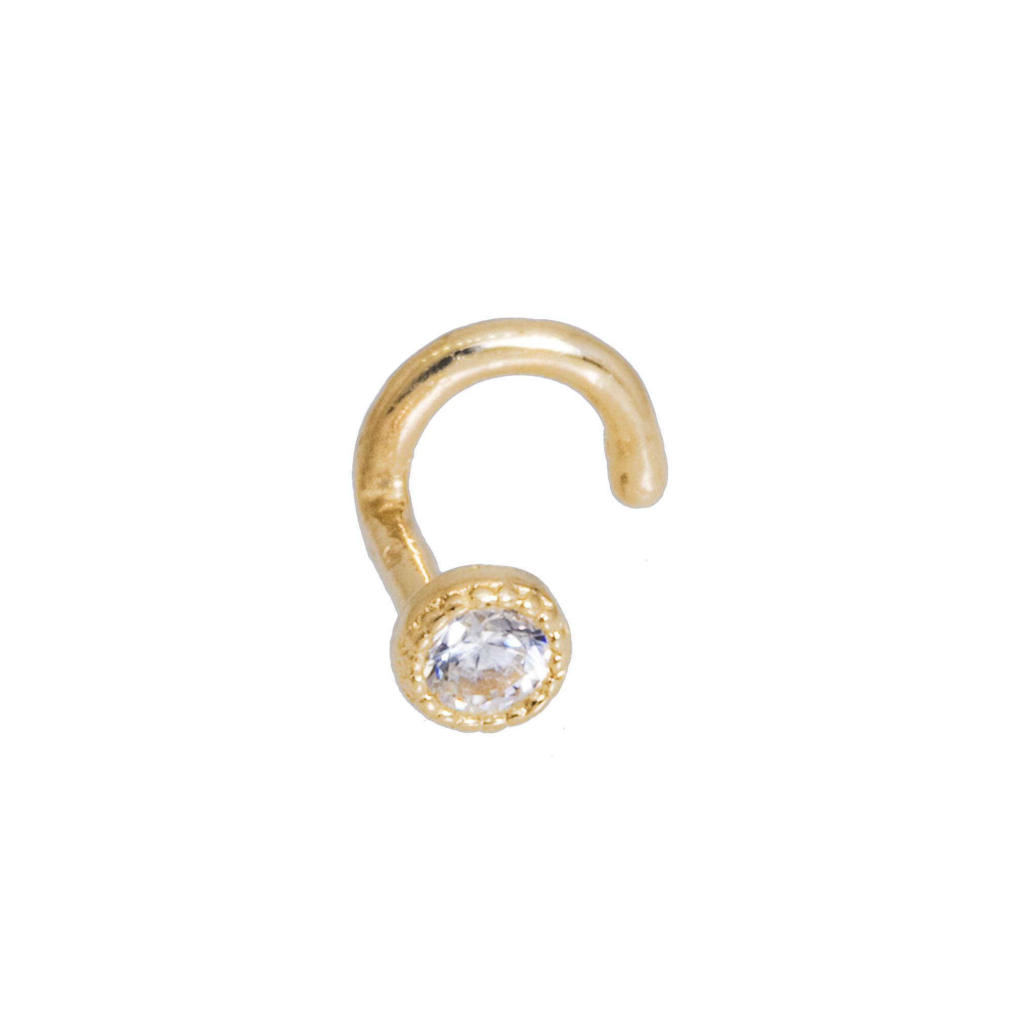 CZ 1.2mm Pettite Heart Nose Piercing in 14k Yellow Gold