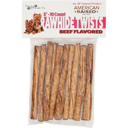 Pure & Simple Pet 10/5inch Rawhide Twists, Beef Flavored American Rawhide Beef Rawhide
