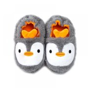 Cleance Sale Kids Indoor Slippers, Baby Winter Boys Girls Cartoon Animal Print Home Non-Slip Cute Warming Shoes(Gray)