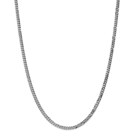 "Solid 14k White Gold 3.9mm Flat Cuban Curb Chain Necklace 16"" - with Secure Lobster Lock Clasp"