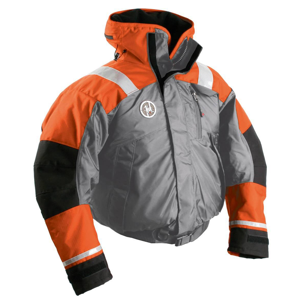 FIRST WATCH AB-1100 FLOTATION BOMBER JACKET SM ORANGE/GREY