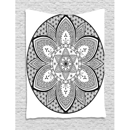 Ethnic Tapestry, Mandala Ethnic Tribal Design Leaves Flowers Ivy Swirls Dots Artwork Image Print, Wall Hanging for Bedroom Living Room Dorm Decor, Black and White, by - Tribal Flowers