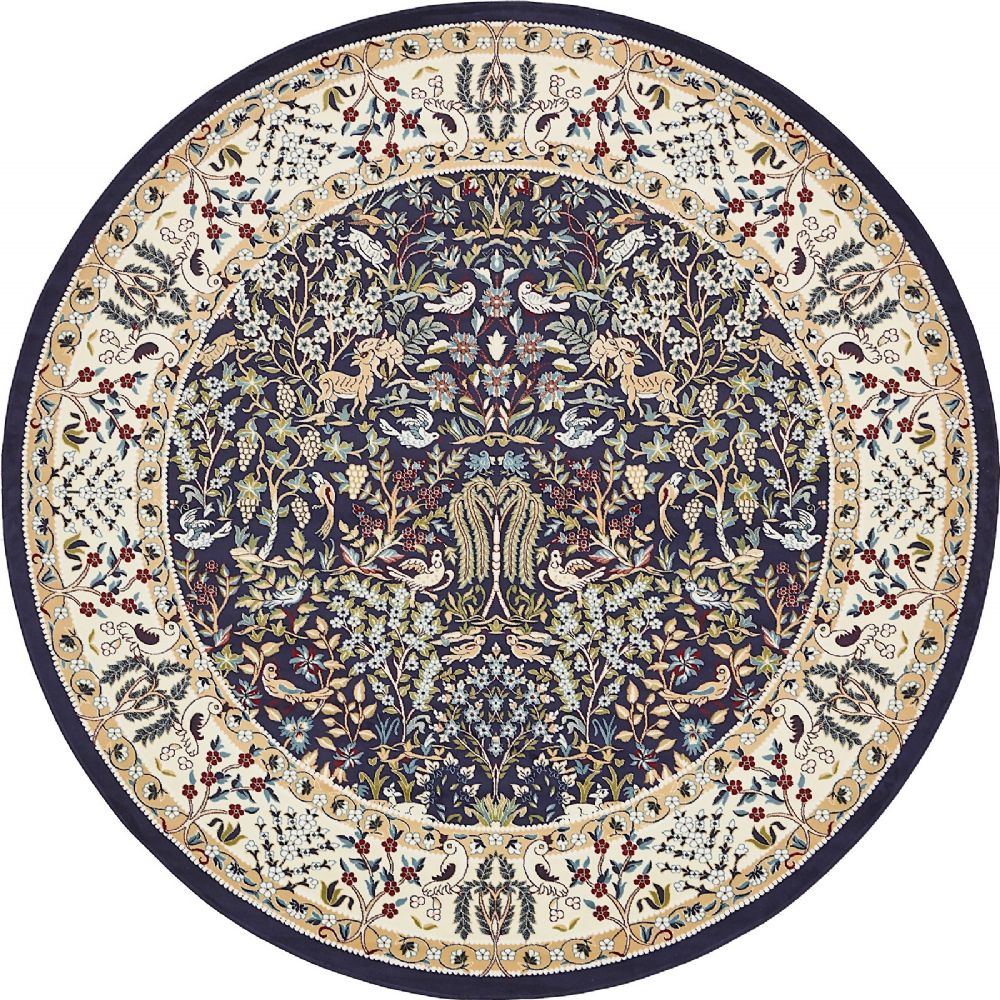 Round Or Rectangular Area Rug: Traditional Kelayeh Collection Area Rug In Seafarer Color