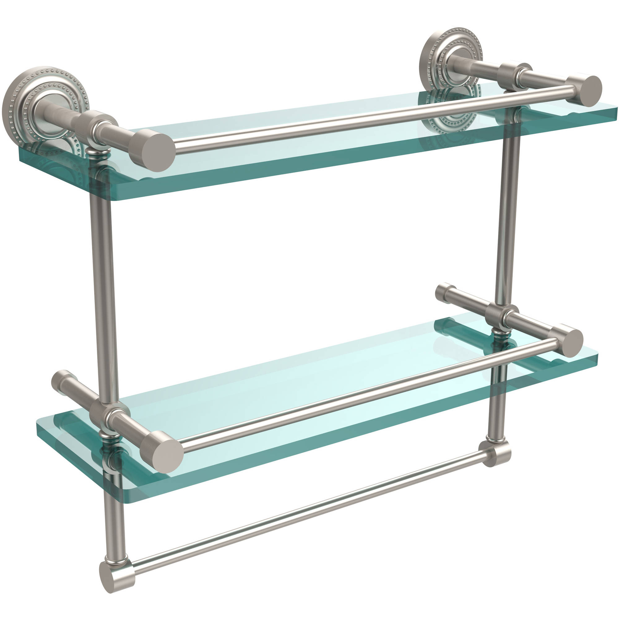 """Dottingham 16"""" Gallery Double Glass Shelf with Towel Bar (Build to Order)"""