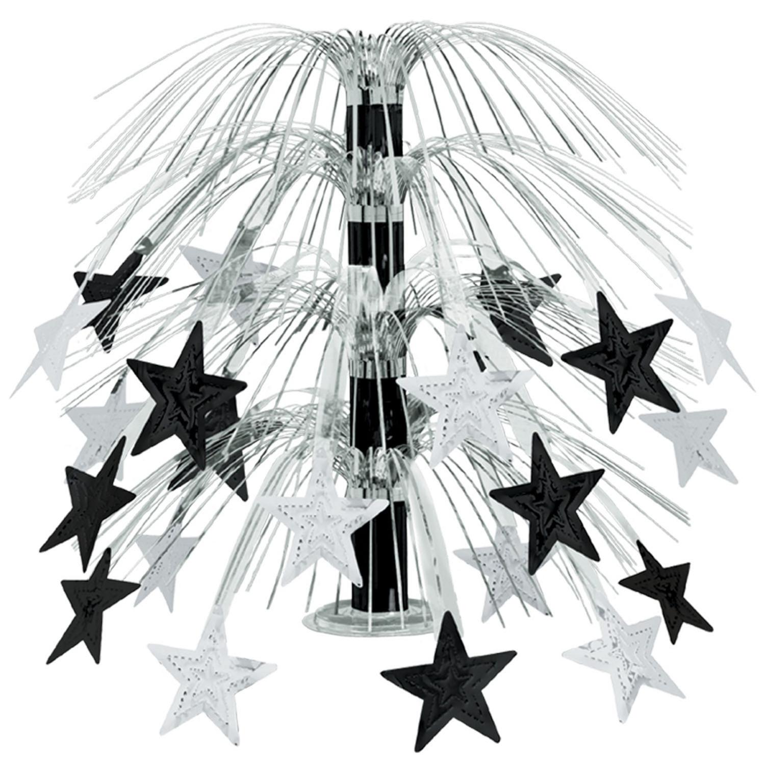 Club Pack of 6 Black and Silver Cascade Star Cut-Out Table Centerpiece Decoration 18""