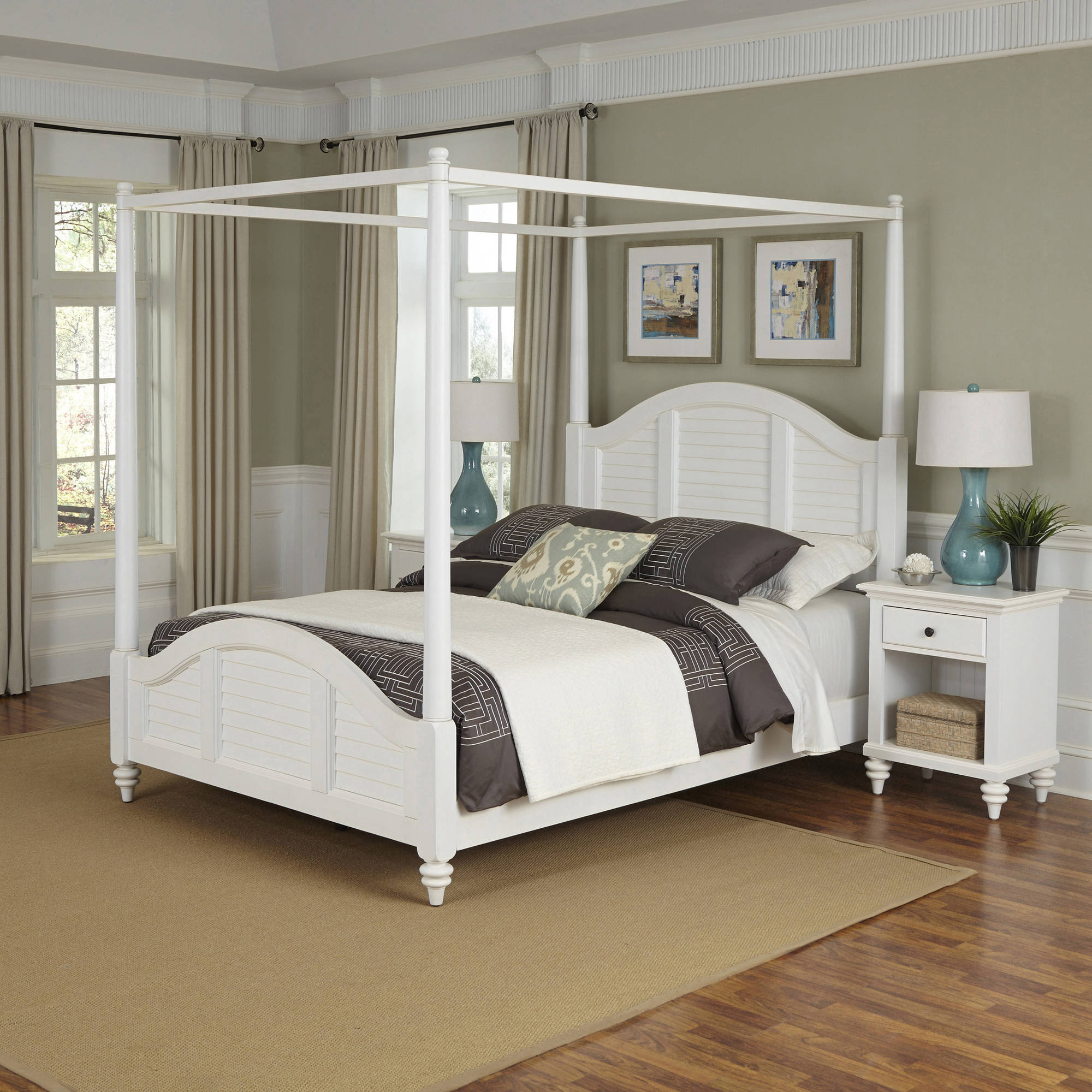 Home Styles Bermuda Queen Canopy Bed and 2 Night Stands, Multiple Colors
