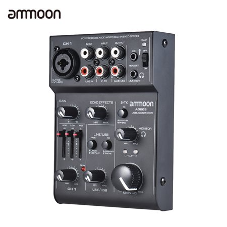 ammoon AGE03 5-Channel Mini Mic-Line Mixing Console Mixer with USB Audio Interface Built-in Echo Effect USB Powered for Recording DJ Network Live Broadcast Karaoke (Broadcast Console)