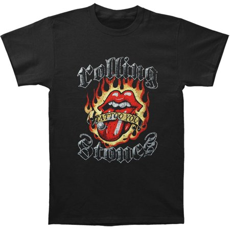 Rolling Stones Mens  Flaming Tattoo Tongue T Shirt Black
