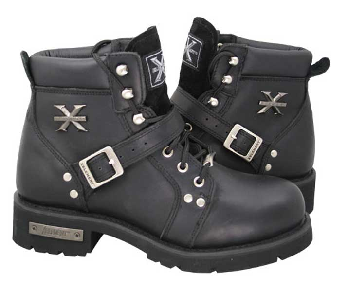 Xelement 2469 Womens Black Advanced Lace Up Motorcycle Biker Boots