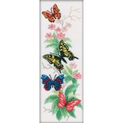 "RTO Counted Cross Stitch Kit 6.25""X17.75""-Butterflies And Flowers (14 Count)"