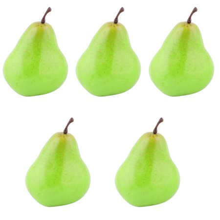 House Table Decor Foam Artificial Pear Designed Emulation Fruit Mold Green 5pcs