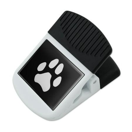 - Paw Print Dog Cat White on Black Refrigerator Fridge Magnet Magnetic Hanging Hook Note Snack Clip