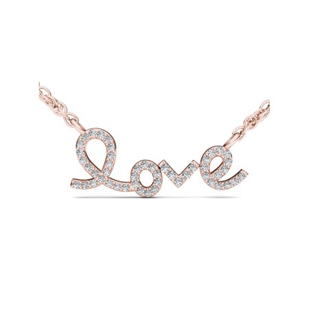 White Topaz Diamond Necklace - 1/6Ct TDW Diamond 10K Rose Gold 'Love' Necklace