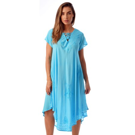 0bd6166307 Riviera Sun - Riviera Sun Lace Up Acid Wash Embroidered Dress Short Sleeve  Dresses for Women (Turquoise, 3X) - Walmart.com