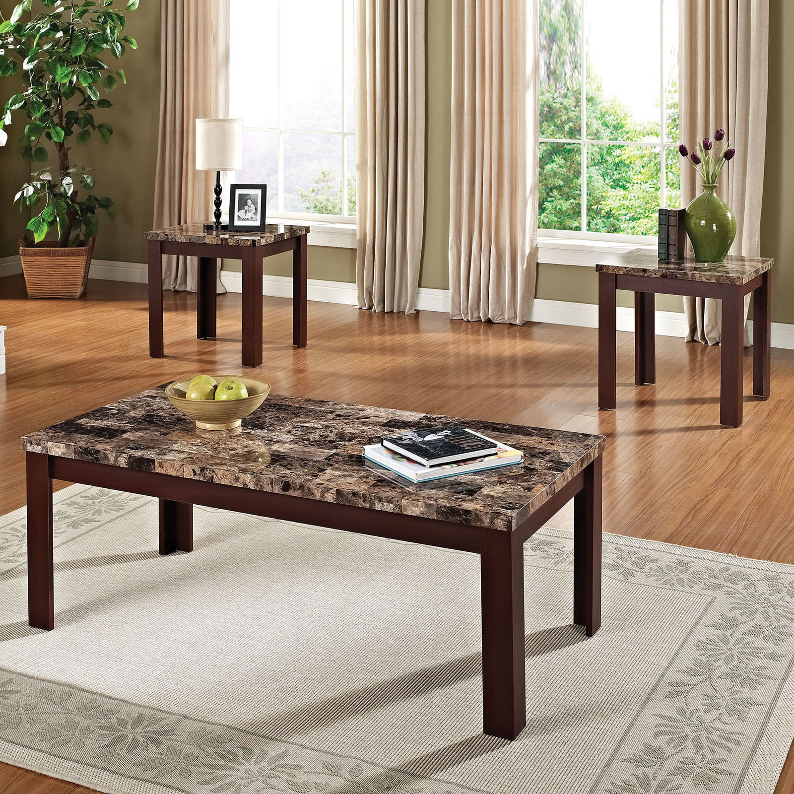 Acme 3 Piece Finely Coffee And End Table Set Dark Brown Faux Marble Black