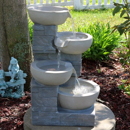 - Sunnydaze 4-Tier Cascading Stone Bowls Outdoor Water Fountain with LED Lights, Garden and Patio Waterfall Feature, 22 Inch Tall