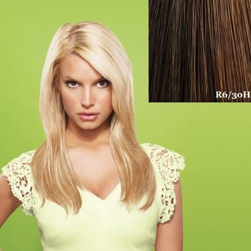 """Jessica Simpson HairDo Ken Paves 22"""" Straight Hair Extensions clip R6/30H (Chocolate Copper)"""