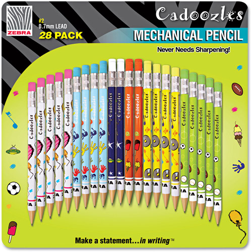 Zebra Cadoozles Mechanical Pencil, Assorted Barrels, 0.7mm, 28pk