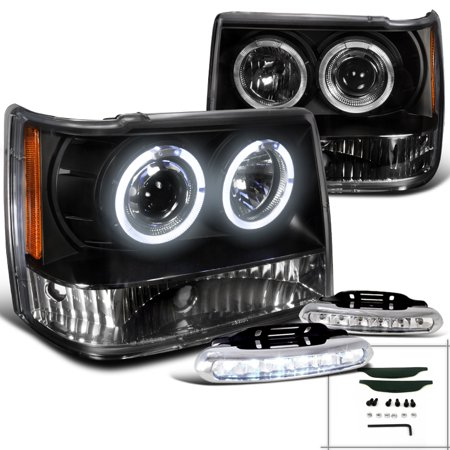 Spec-D Tuning For 1993-1996 Jeep Grand Cherokee Black Projector Headlights Black W/Led Driving Fog (Left+Right) 1993 1994 1995