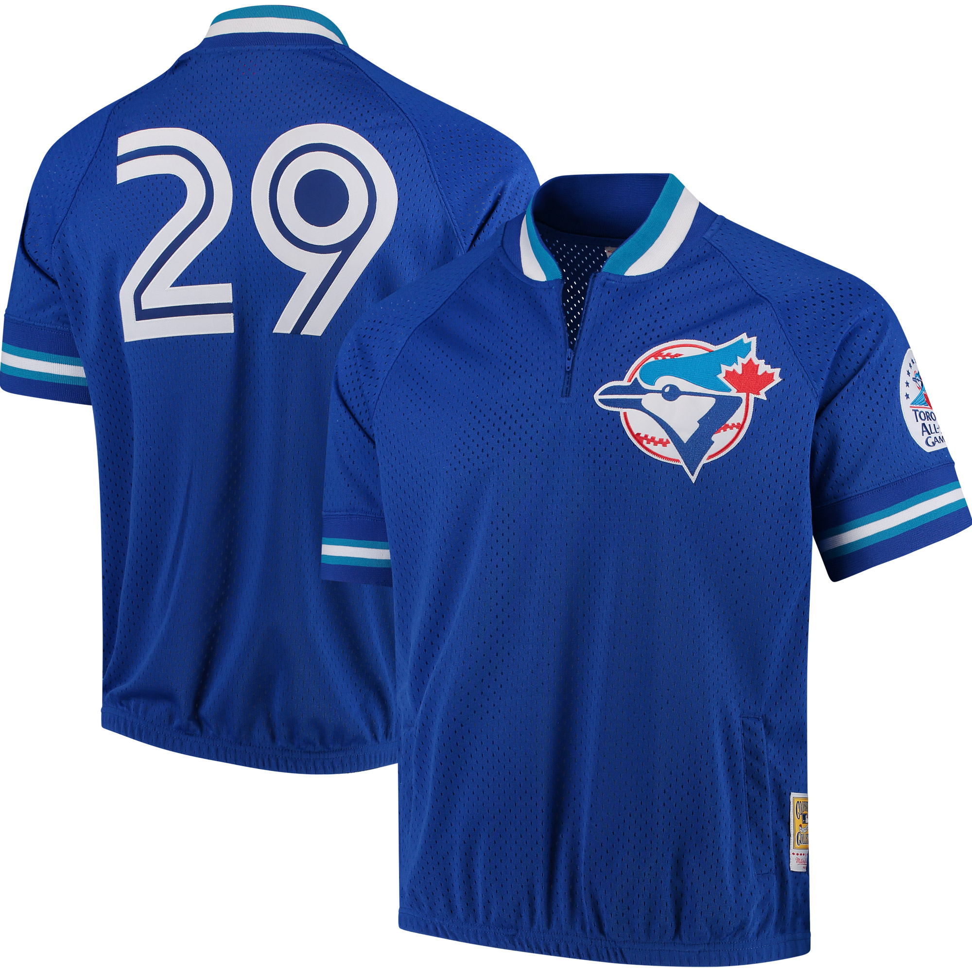 release date: 391e6 c8724 Joe Carter Toronto Blue Jays Mitchell & Ness Cooperstown Collection Mesh  Batting Practice Quarter-Zip Jersey - Royal