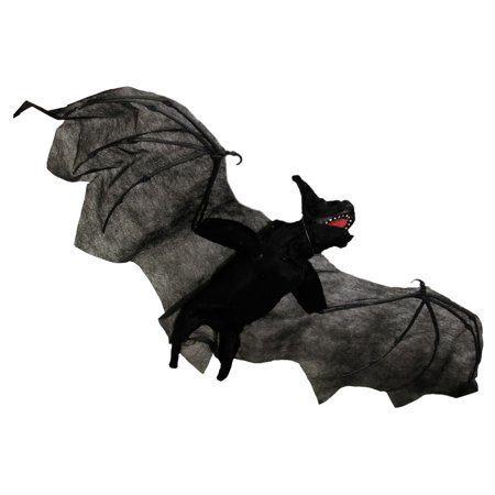 Halloween haunters 35 animated head and wings flying bat for Animated flying bat decoration