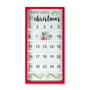 Set of 2 White and Red Christmas Countdown Calendar 25""