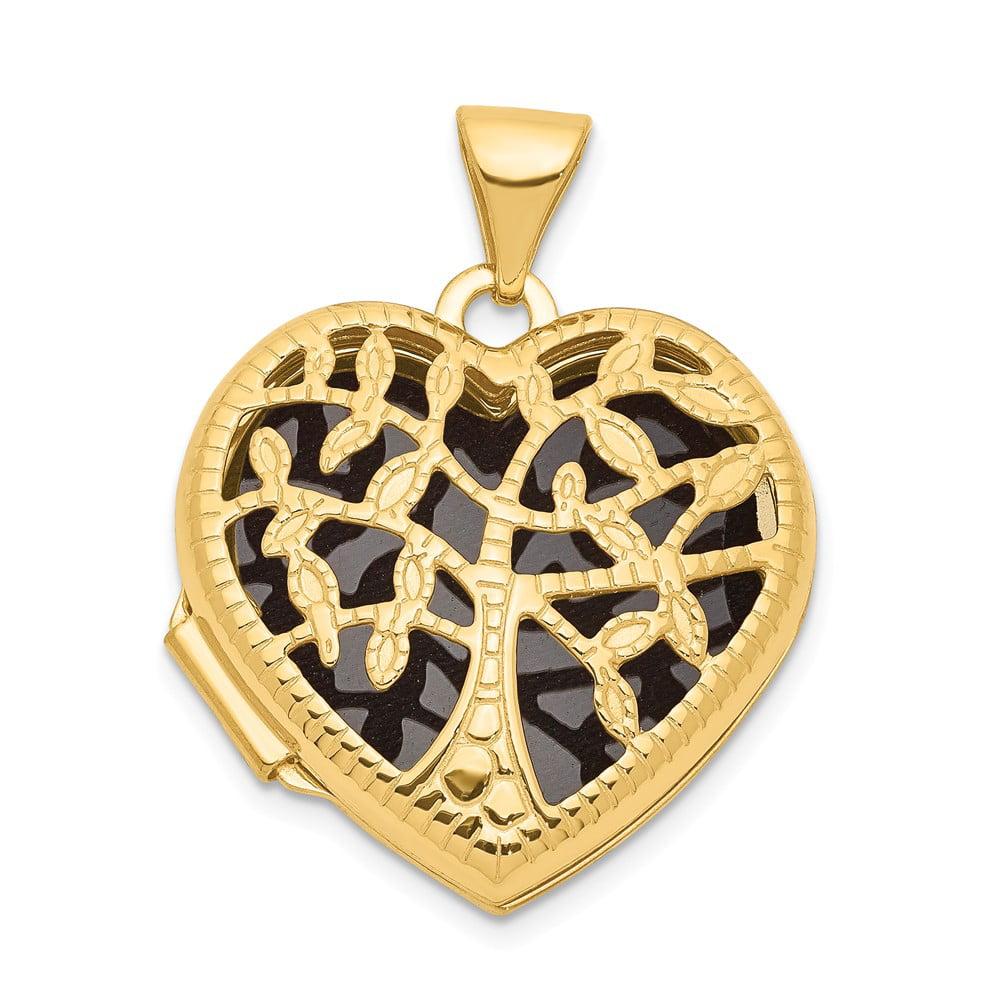14k Yellow Gold 18mm Heart w/Tree Locket
