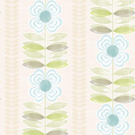 (Avril Blue Modern Floral Stripe Wallpaper)