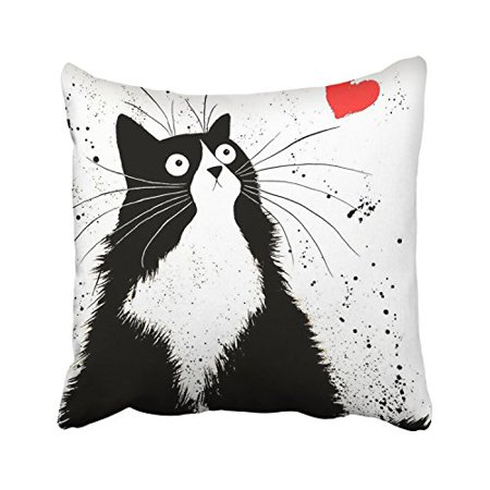 WinHome Cute Cartoon Black Fat Cat And Red Heart White Decorative Pillowcases With Hidden Zipper Decor Cushion Covers Two Sides 18x18 inches