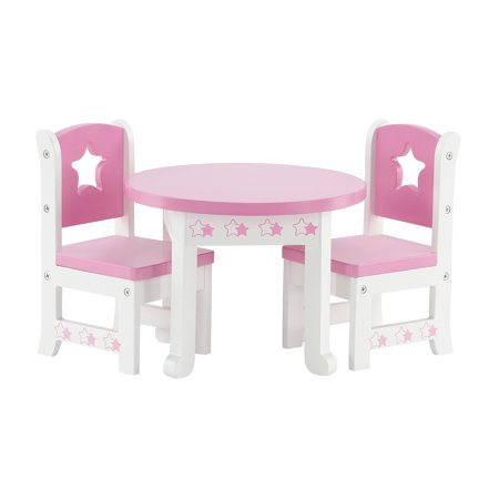 14 Inch Doll Furniture Lovely Pink And White Table And 2 Chair Dining Set With Beautiful Star Motif Fits American Girl Wellie Wisher Dolls