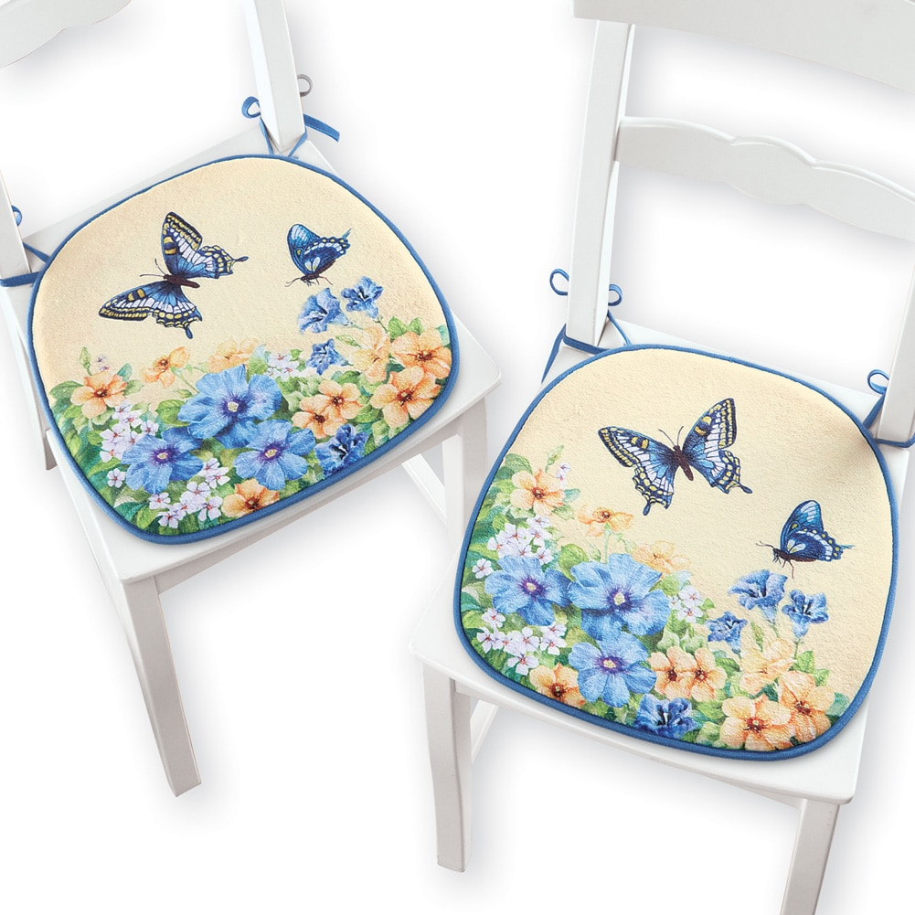 Vintage Spring Butterfly and Flowers Chair Pad Cushions, Set of 2, Blue
