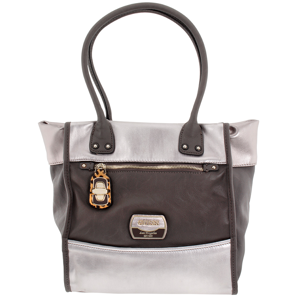 Guess Hazelton Medium Pewter Ladies Satchel Handbag MG425422PEW