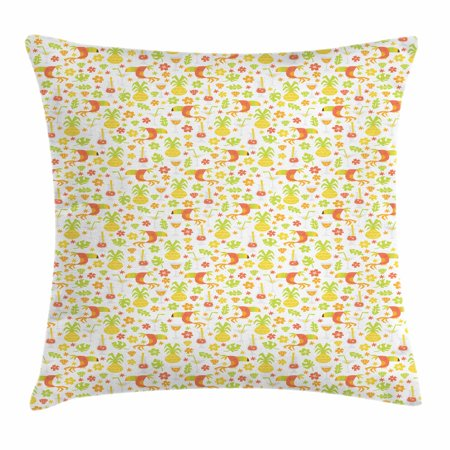Luau Throw Pillow Cushion Cover, Tropical Birds and Trees Plants Leaves Flowers Nature Party Theme, Decorative Square Accent Pillow Case, 16 X 16 Inches, Apricot Dark Orange Apple Green, by Ambesonne](Luau Flowers)