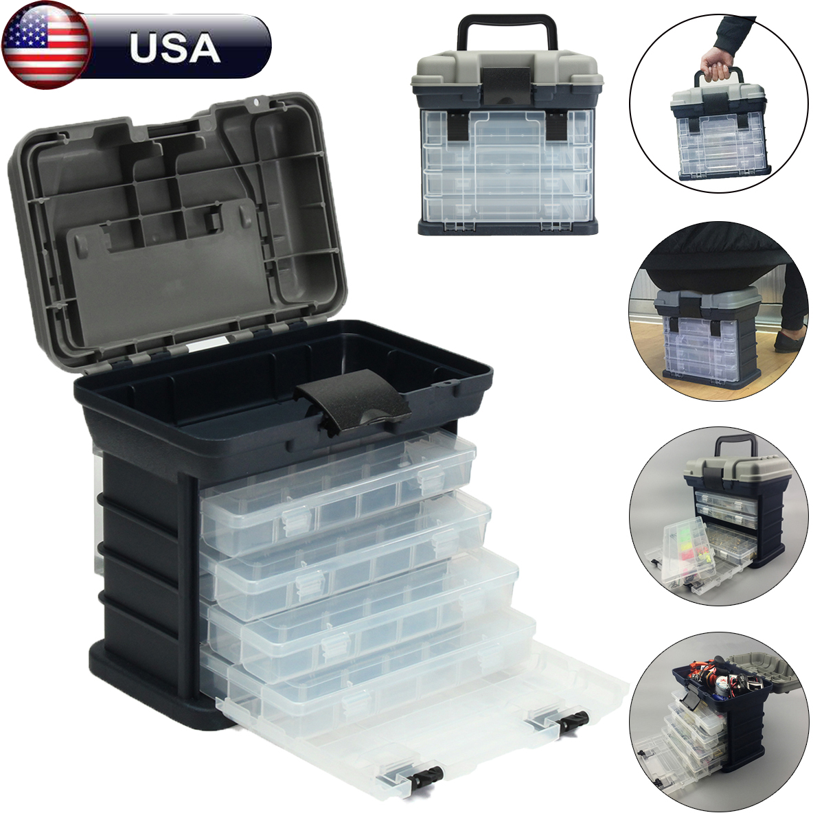 "4 Layers Multifunctional Portable Fishing Tackle Box Drawer Tray Bait Case Tool Organizer Lures Storage , 10.63""x10.24""x6.69"""