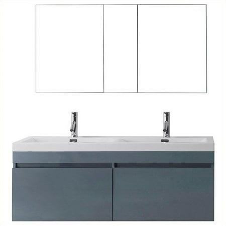 Virtu Usa Zuri 55 Quot Polymarble Double Bathroom Vanity Cabinet Set In Gray Walmart Com