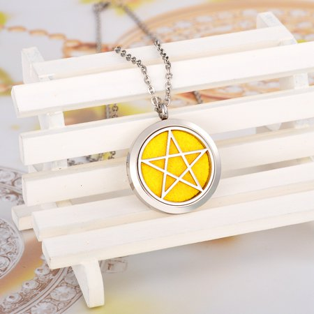 Pentacle Round Perfume Essential Oil Diffuser Necklace Locket Aromatherapy