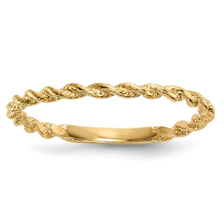 Gemstone Rope Ring - Solid 14k Yellow Gold Polished Twisted Rope Ring (1.5mm) - Size 4