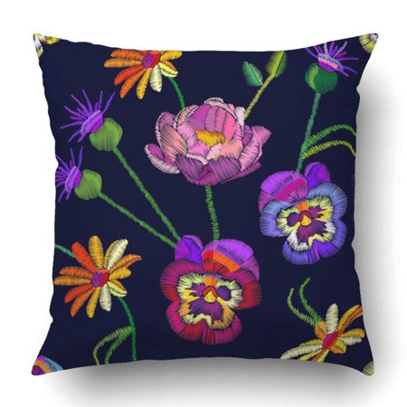 Wopop Colorful Floral With Embroidered Pansies Peonies