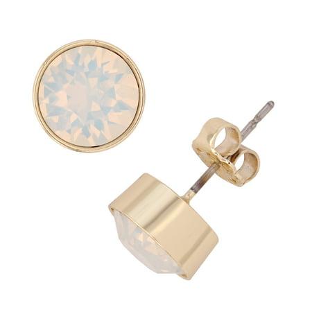 X & O 14KT Gold Plated 8 mm Bezel Set Flat Back Stud Earrings with White Opal Swarovski Crystals (Opal Innocence Crystal)