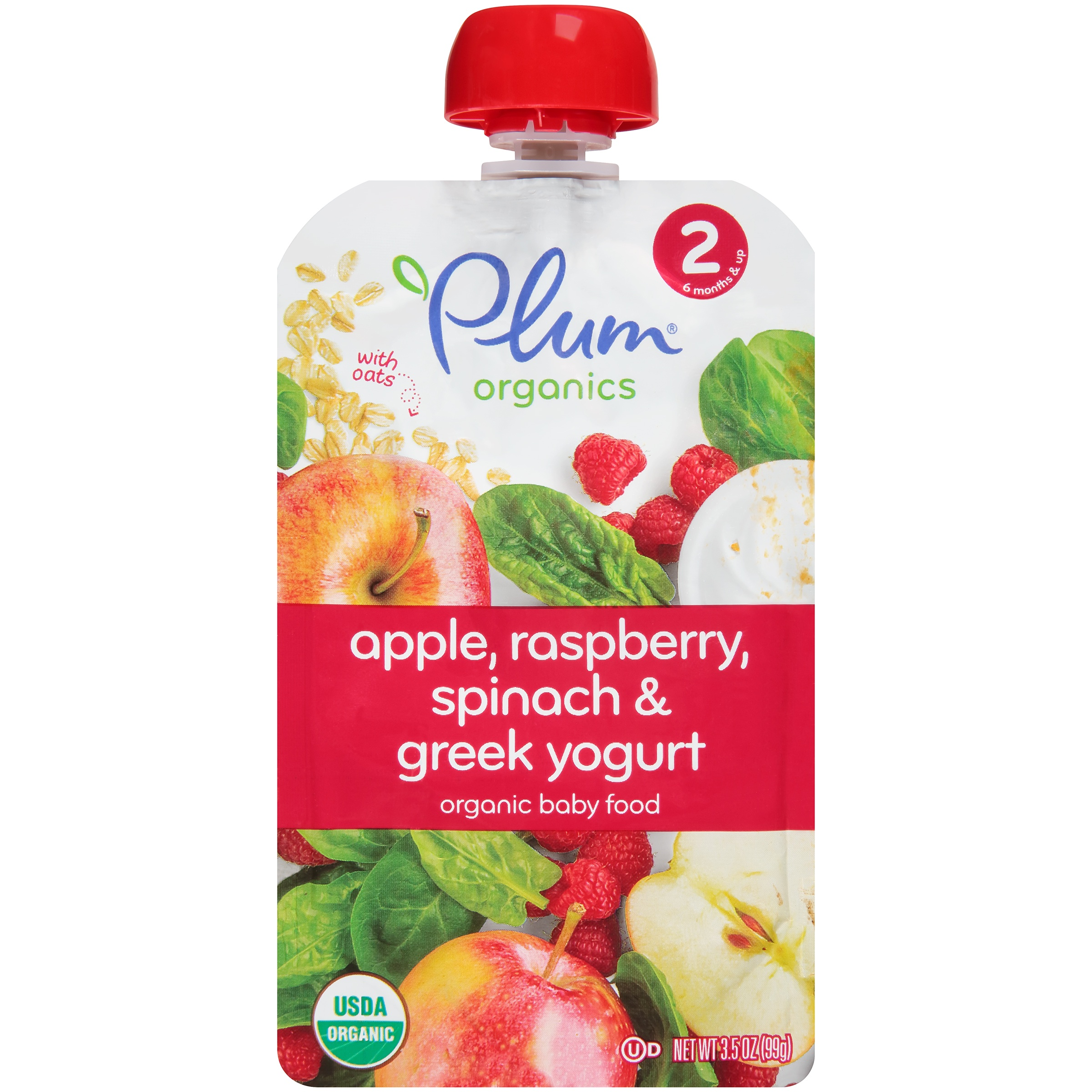 Plum  Organics Stage 2 Raspberry, Spinach & Greek Yogurt Organic Baby Food 3.5 oz. Pouch