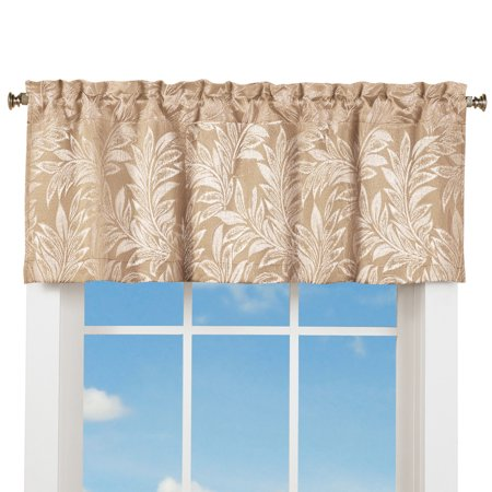 Elegant Window Valance Curtain w/ Rod Pocket Top & Leaf Design, Taupe